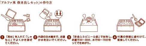「アルファ米」炊き出しセットの作り方