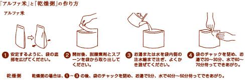 「アルファ米」と「乾燥粥」の作り方